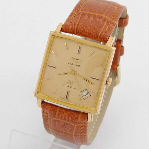 Pozłacany zegarek Longines automatic na brązowym pasku