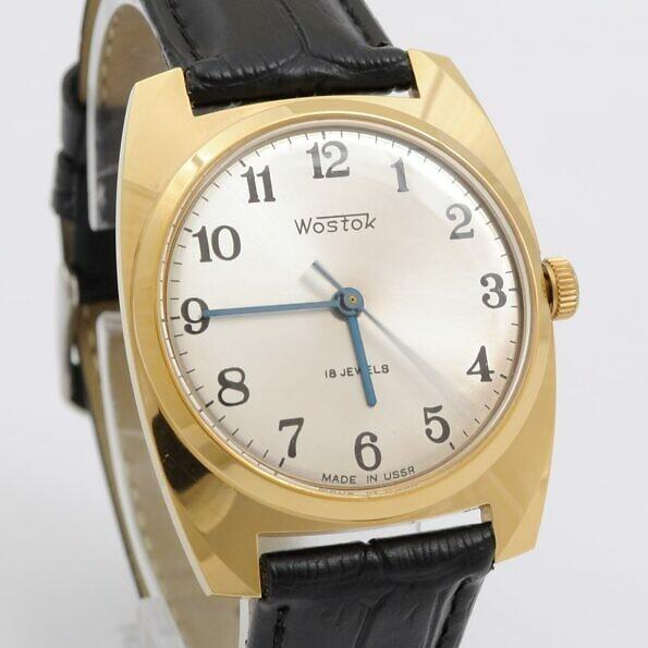 Złocony zegarek Wostok ze srebrną tarczą