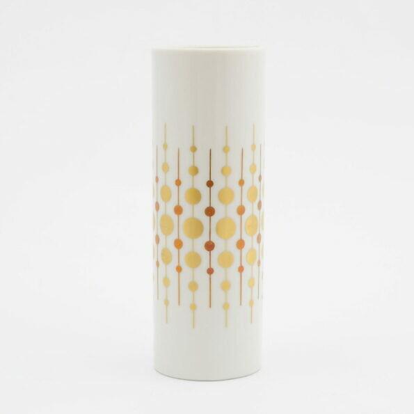 Modernistyczny wazon alka-kunst z porcelany złocony
