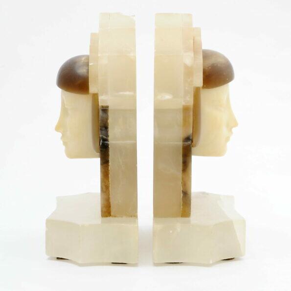 Artdecowskie podpórki do książek z alabastru