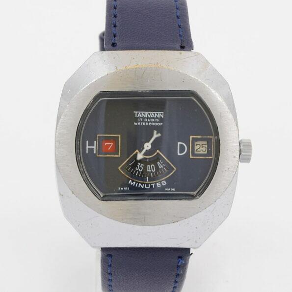Zegarek Tanivann z niebieską tarczą na niebieskim pasku