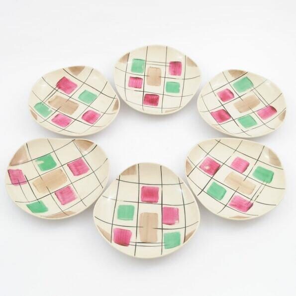 6 ręcznie malowanych tależyków deserowych w stylu new look picasso