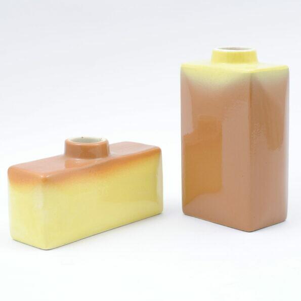Para wazonów Kravsko w kolorze żółto-brązowym
