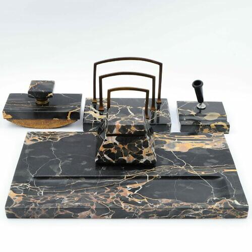 Marmurowy zestaw na biurko art deco