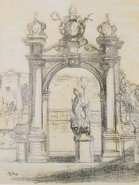 Litografia Wojciech Weiss, Sadzawka na Skałce w Krakowie, 1911