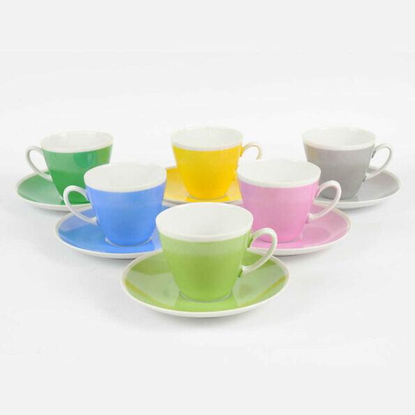 Porcelanowy komplet kolorowych filiżanek do kawy, lata 60.