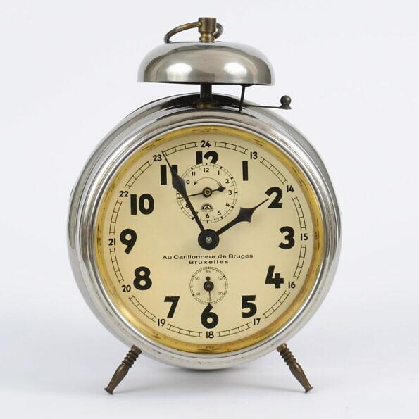 Stary zegar z budzikiem Haller z lat 20./30. XX w.