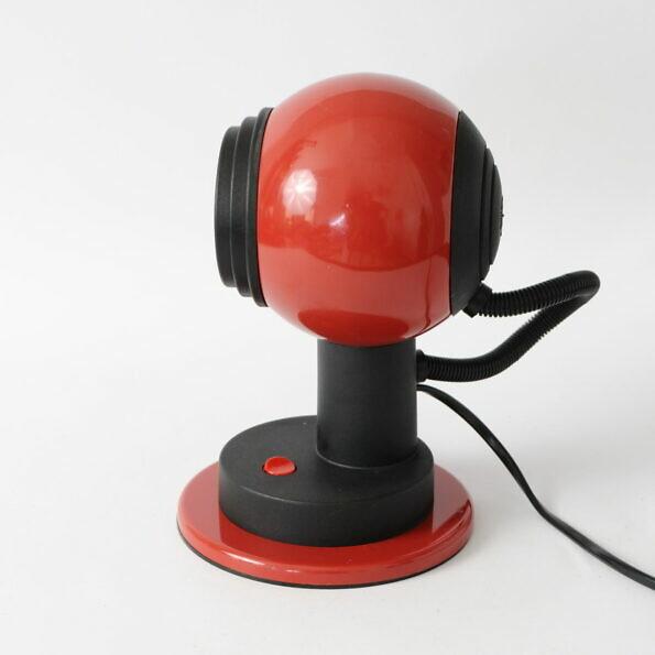 czerwona lampa kula, proj. Vrieland Design, Holandia lata 70.